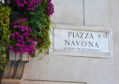navona: Piazza Navona in Rome old Marble Plate Editorial