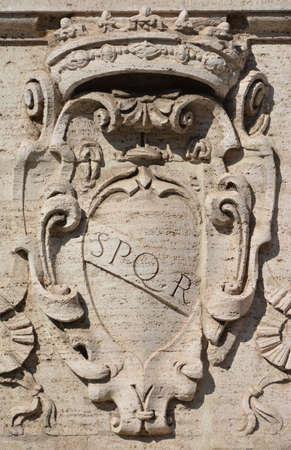 spqr: The symbol of ancient Roman Republic on the capitole hill