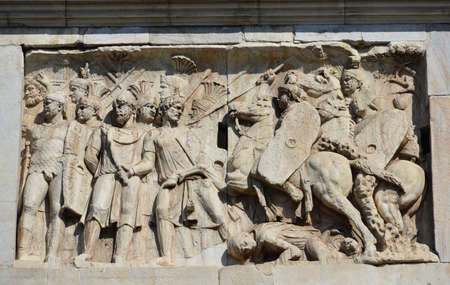 legion: Relief of a battle scene between roman legion and barbarians