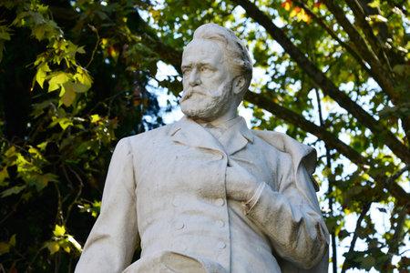Statue of Victor Hugo in Villa Borghese in Rome Editorial