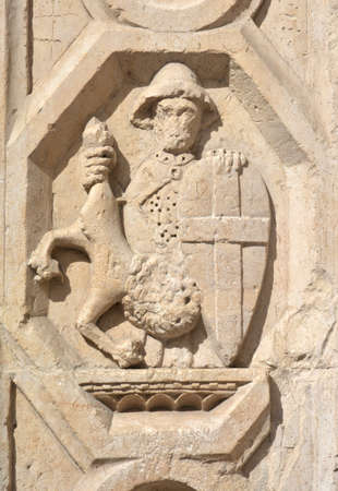 priori: Detail of Palazzo dei Priori in Perugia, Umbria