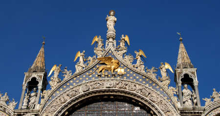 patron of europe: Beautiful spires, freizes, and statues of San Marco in Venice