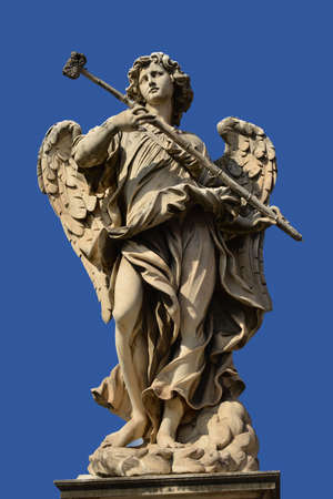 messengers of god: The magnificent bridge of SantAngelo with Berninis marble angels Stock Photo