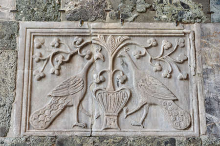 Byzantine relief of two peacocks outside Saint Mark Basilica in Venice