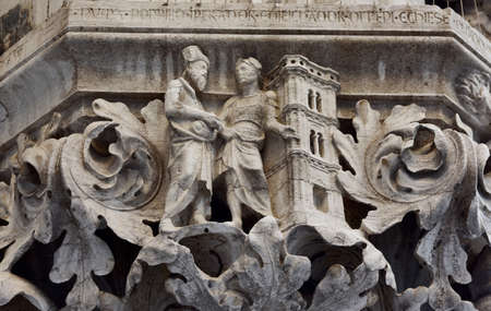 saint mark square: Relief of Florence Giotto belfry from a Doges Palace capital in Saint Mark Square