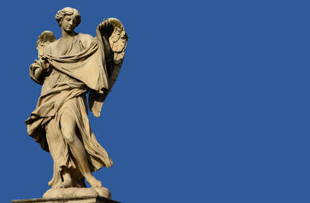 messengers of god: Marble statue of angel from the SantAngelo Bridge in the very centre of Rome (17th century)