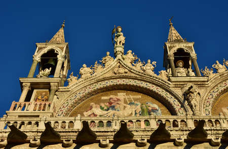 frieze: Beautiful gothic spires, frieze and statues from Saint Mark Basilica in Venice