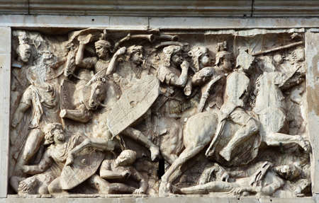 cavalry: Relief panel with battle scene between roman cavalry and dacian barbarians, from beautiful Arch of Constantine in the center of Rome