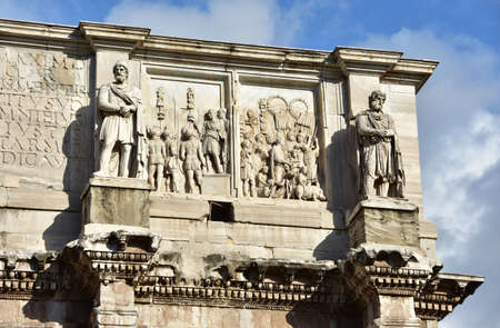 attic: Arch of Constantine attic with barbarian statues and histories of the emperor