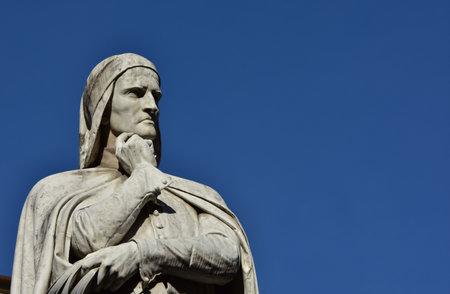 dante alighieri: Dante Alighieri monument at the center of Piazza dei Signori, Verona 19th century, with copy space