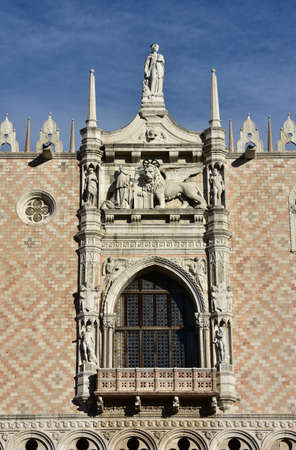 doge: Balcony made by famous artist Sansovino (16th century) at the center of Doges Palace western facade with Venice Lion, Doge, Mercury, Jupiter, Mars and Neptune statues