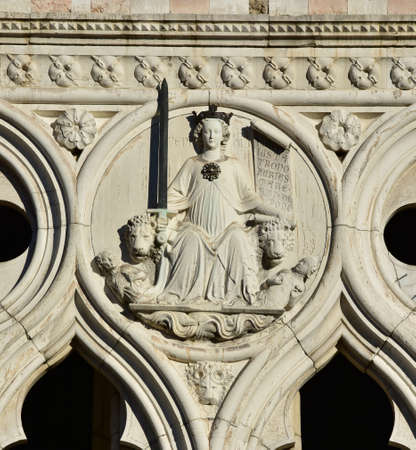rightness: Detail from Doges Palace western facade with the Goddess of Justice