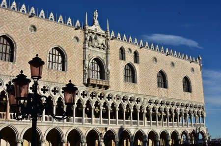 saint mark square: Beautiful western facade of Doges Palace, right in front of Saint Mark Square
