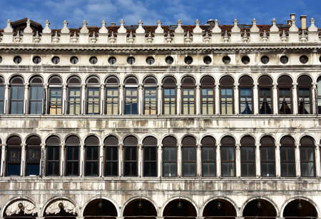 procuratie: Detail from the Saint Mark Square Procuratie Vecchie facade in gothic renaissance mixed style, built in 16th century Stock Photo