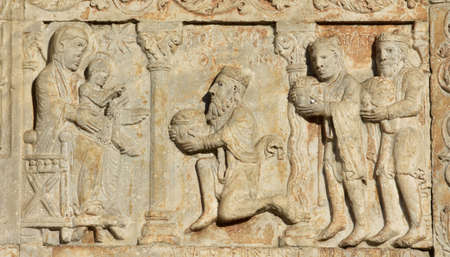 myrrh: Medieval relief of Three Magi bring gifts to Jesus and Virgin Mary, from Basilica of San Zeno facade, in Verona (12th century)
