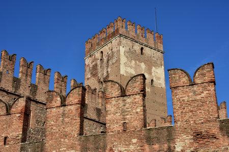 embrasure: Medieval Castelvecchio with its typical ghibelline battlements and merlons, a famous Verona city landmark