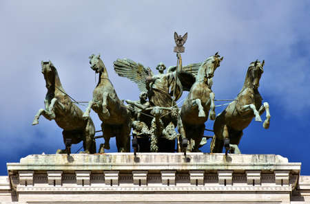 goddess: Bronze quadriga with Goddess of Justice at the top of Rome old Palace of Justice