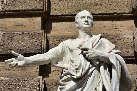 rome: Detail of Cicero marble statue in front of Rome Old Palace of Justice Editorial