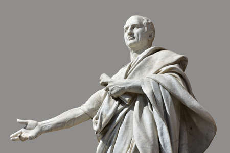 senator: Cicero marble statues in front of Rome Old Palace of Justice with gray background