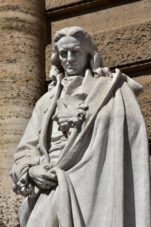 philosopher: Giambattista Vico important italian philosopher of the 18th century marble statues in front of Rome Old Palace of Justice
