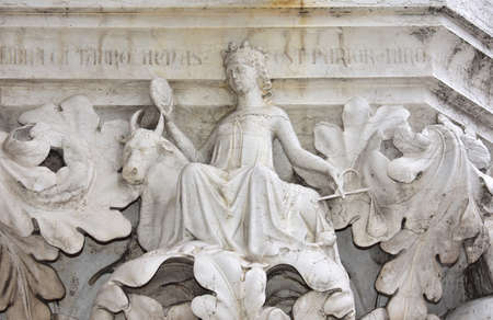 saint mark square: Medieval relief from Doge Palace in Saint Mark Square with Venus, Taurus and Libra zodiac signs