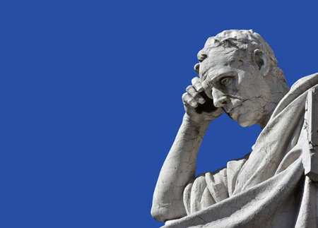 derecho romano: Detail from a marble statue of Salvius Julianius, a famous jurist and politician of Ancient Roman Empire, in front of old Palace of Justice in Rome (19th century) Editorial