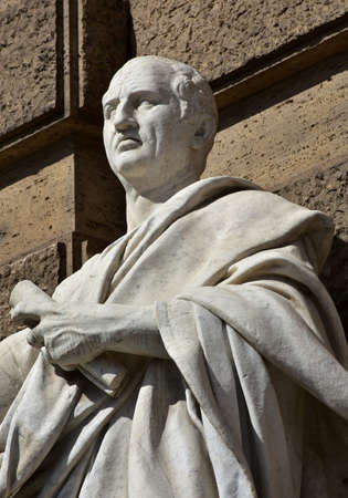 Detail of Cicero marble statue in front of Rome Old Palace of Justice Editorial