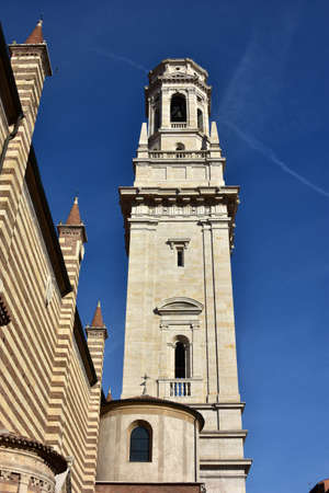 architecture monumental: Renaissance marble Belfry of Verona Cathedral designed by the architect Sanmicheli in the 16th century