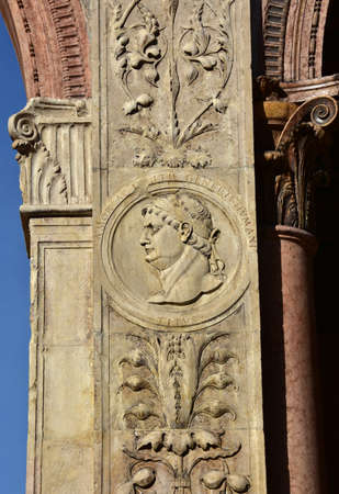 effigy: Effigy of Emperor Titus from Loggia del Consiglio corner. A beautiful example of reinassance art and architecture in Verona (15th century) Editorial
