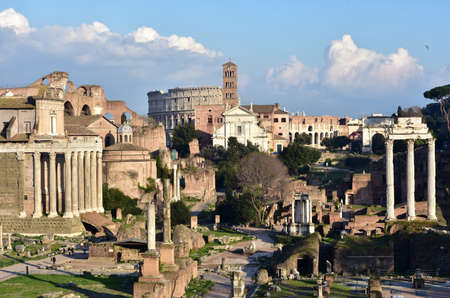 sacra: Panorama of Roman Forum and Via Sacra road with ancient monuments and Coliseum in the background