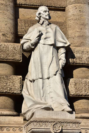 jurist: Marble statue of Giovanni Battista de Luca in front of old palace of Justice in Rome. A very important italian jurist and Cardinal of the 17th century