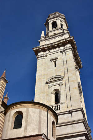 belfry: White marble Verona Cathedral (Duomo) belfry, designed by italian renaissance architect Sanmicheli in the 16th century Stock Photo