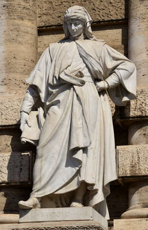 jurist: Marble monument of Bartolus de Saxoferrato right in front of the old Palace of Justice in Rome. The most important jurist in the 14th century Europe