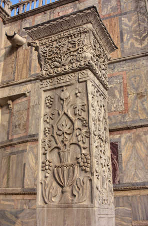 Pillars of Acre. Ancient marble pillar with Sasanid (Persian) motif, from St Polyeuktos Byzantine church in Constantinople and brought` to Venice after the 4th Crusade (1204)