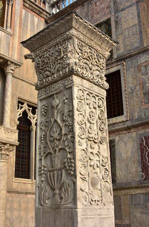 crusade: Pillars of Acre. Ancient marble pillar with Sasanid (Persian) motif, from St Polyeuktos Byzantine church in Constantinople and brought` to Venice after the 4th Crusade (1204)