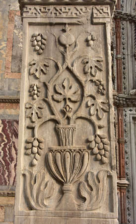 constantinople ancient: Pillars of Acre. Ancient marble pillar with Sasanid (Persian) motif, from St Polyeuktos Byzantine church in Constantinople and brought` to Venice after the 4th Crusade (1204)
