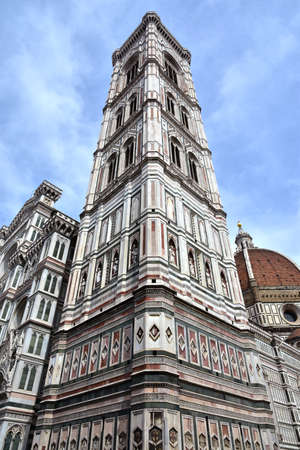 polychrome: Giottos bell tower seen from below with its wonderful gothic polychrome marbles Stock Photo