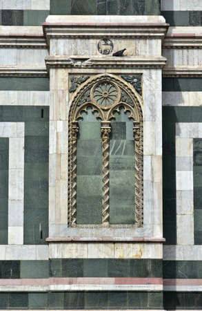 gothic window: Detail from Saint Mary of the Flower southern facade with a false gothic window as decoration