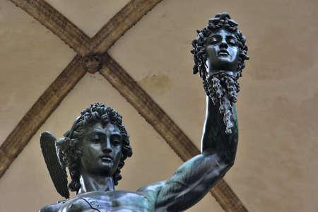 signoria square: Bronze statue of Perseus holding the head of Medusa in Piazza della Signoria square (Florence), made by famous artist Benvenuto Cellini in 1545 Stock Photo