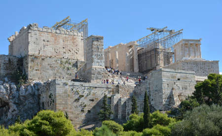 restauration: Propylaea ancient gate at the entrance of the famous Acropolis of Athens under repairs