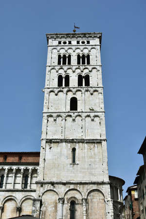 or san michele: Beautiful romanesque belfry of San Michele in Foro church , right in the historic center of Lucca