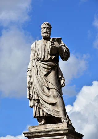 key of paradise: Marble statue of Saint Peter, patron of Rome, at the entrance of SantAngelo monumental bridge, created by sculptor Lorenzetto in the 16th century