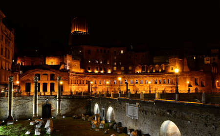 militia: View of the Trajans Forum at night with Basilica Ulpia columns and Tower of the Militia