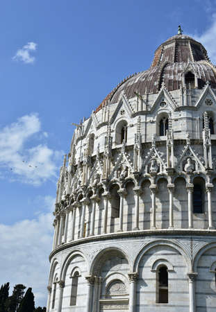 romanesque: Transition from romanesque to gothic style in the Pisa Baptistery Stock Photo