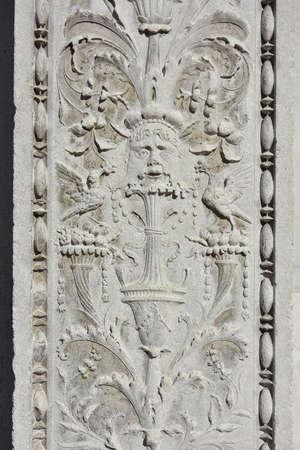 Detail of St Zechariah church renaissance portal in Venice Stock Photo