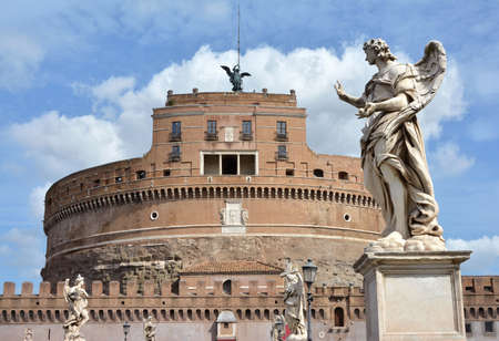 embrasure: SantAngelo castle and bridge with beautiful baroque angels among clouds, in the center of Rome