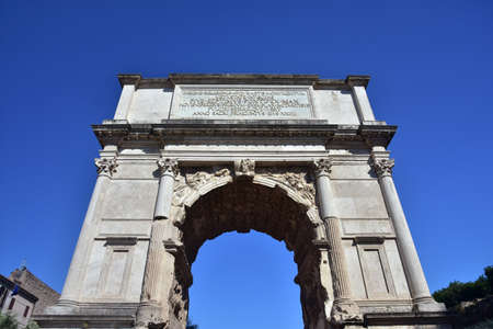 1st century ad: Ancient triumphal arch dedicated to Emperor Titus, at the entrance of the Roman Forum (1st century A.D.)