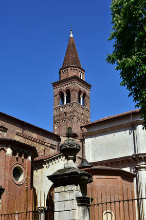 crown spire: Brick belfry of Santa Corona (Holy Crown) gothic church in the historic center of Vicenza, the place where the famous renaissance architect Andrea Palladio is buried.