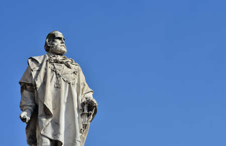 Monument of Giuseppe Garibaldi, one of Italy's Fathers of Fatherland, in the center of Vicenza, made by artist Ettore Ferrari in 1887 (with copy space)
