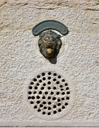 characteristic: Characteristic old door bell in Venice with intercom Stock Photo